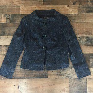 Lafayette 148 Blue Tweed Wool Button Jacket Size 6